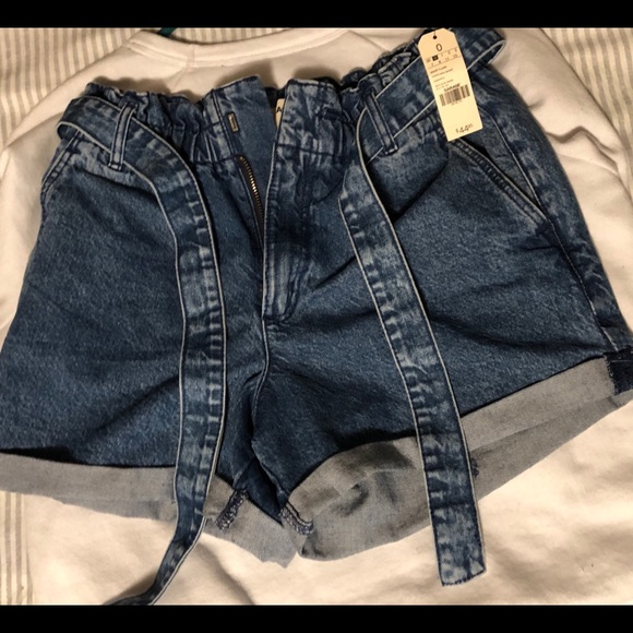 GARAGE HIGH WAISTED BELTED DENIM SHORTS